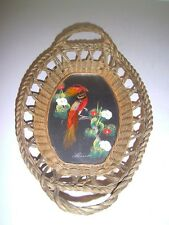 Vintage Mexican Folk Art Feather Bird Hand Painted Serving Tray Basket nice one