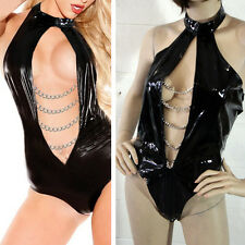 Sexy Teddy Mistress Chain Cup Open Front Halter Top Stretchy Faux Vinyl Erotic
