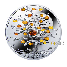 Niue Island 2016 1$ Tree of Luck with natural amber stones 1oz. fine silver coin