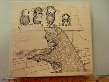 """Stampa Rosa House Mouse """"Do Re Meow"""" Rubber Stamp  #1145"""