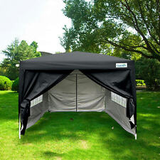 Quictent Silvox® 8'x8'EZ Pop Up Canopy Gazebo Party Tent Black 100% Waterproof