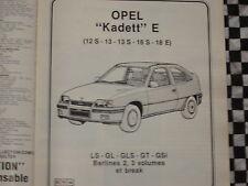 revue technique OPEL KADETT GSi GLS GT GL LS ESSENCE  / E.O 1985 / français