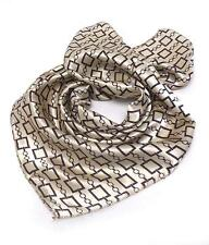 E2 Petite Small Square SCARF Chain Link Pattern Tan Brown Silk NEW