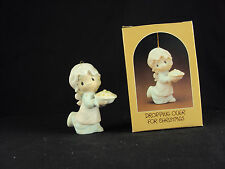 Precious Moments E-2376, Dropping Over For Christmas, Issued 1982, Retired 1985