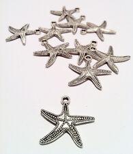 5x Stella marina Ciondolo Charm argento antico 25x25mm DIY fai da te