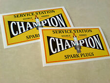 CHAMPION SERVICE STATION Classic Vintage Retro Car Stickers Decals 100mm 2 off
