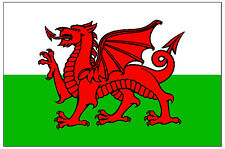 WALES FLAG - CAR / WINDOW INSIDE STICKER + 1 FREE - BRAND NEW - GIFT
