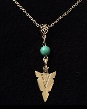 Turquoise Spear Head Arrow Necklace Native American Indian Bow Blue SILVER *UK*