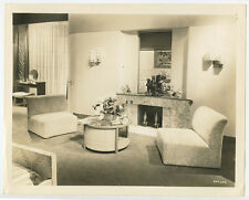 1970S LIVING ROOM INTERIOR W/ MARBLE FIREPLACE   MODERN FURNITURE/ART PHOTO