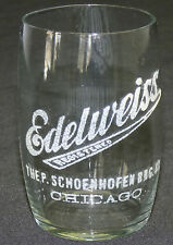 Antique Pre Prohibition Edelweiss Schoenhofen Chicago Beer Glass Enameled