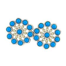Andrea Candela 18k Yellow Gold & Silver Blue Turquoise Cable Earrings ACE346-TQ