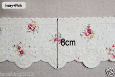 """1y Embroidery scalloped linen eyelet lace trim 3.1"""" 8cm YH1334 laceking2013"""