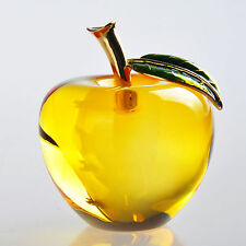 Yellow 3D Apple Figurine Crystal Cut Glass Paperweight Wedding Collectibe Gift