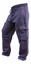 Men's Wide leg cargo Summer Trousers Stripes Festival Side Pocket Combat Pants