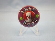 """"""" FREE HUGS """" Pinback, Button  BY PENNYWISH THE SCARY CLOWN ! The Movie IT !"""
