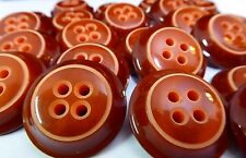 12Pcs Vintage Holland 60's New Old Stock Carved Red Orange 2 Tone Casein Buttons