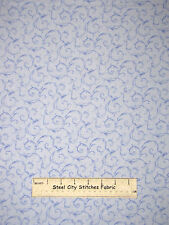 RJR Lovely Pansy Fabric ~ 100% Cotton By The Yard ~ #1448 Swirl Vines Blue Tonal