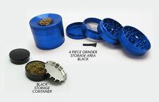 "4 Piece 2.5"" Blue Tobacco Herb Grinder Spice Herbal Aluminum TG-3 + BONUS"