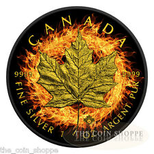 BURNING MAPLE LEAF - 2016 1 oz $5 Fine Silver Coin - Ruthenium Finish 24K Gold