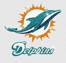 NFL - Miami Dolphins - Bling - Iron-on Glitter Vinyl & Rhinestone Transfer