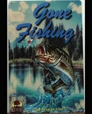 GONE FISHING Tin Metal Sign Rustic Look .. MAN CAVE . brand new. AU SELLER
