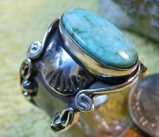 New Unisex Sterling Silver Kingman Turquoise Ring E. Richards Size 11 Navajo
