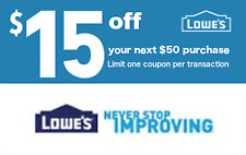 Five (5X) Lowe's $15 OFF $50 Printable-Coupons -exp 4/08 - FAST Instant Delivery