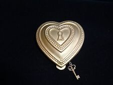 Vintage Debbie Palmer Heart Shape Compact With Key Charm