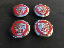 NEW JAGUAR RED WHEEL HUB COVER CAPS LOGO SET OF 4 RIMS CAP C2D9611 / C2Z4438