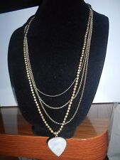 LUCKY BRAND AUTH.,NWT,GOLD TONE, MOTHER PEARL,MULTI-LAYER LONG PENDANT NECKLACE.