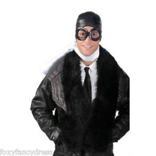 Biggles Aviator Flying Pilot GogglesWW2 Fancy Dress Kit Helmet Hat & White Scarf