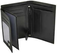 Mens Quality Black Leather Wallet With ID Window, Zip And Coin Pocket 503