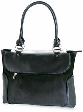 Venetian Ladies Women Black Casual Tote Bag Business Zip-Top Laptop Case Handbag
