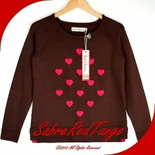 NWT HANNA ANDERSSON WOMENS HAVE A HEART SWEATER BROWN PINK XS 2