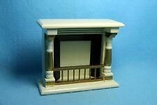 Dollhouse Miniature Wood Fireplace with Large Mantle ~ Gold & Cream WF211-1