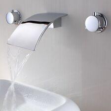 Stainless Steel Waterfall Wall Mount Bathroom Bath Sink Mixer Filler Tap Faucet