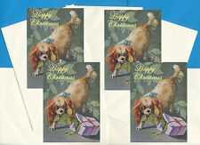 CAVALIER KING CHARLES TOY SPANIEL 4 CARDS DOG PRINT GREETING CHRISTMAS CARDS