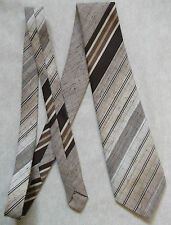 TOOTAL VINTAGE TIE 1970s 1980s RETRO MOD MODERNIST CASUAL BROWN BEIGE STRIPES