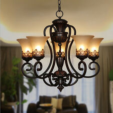 Chandelier Iron Glass Black Pendant Light Ceiling Fixture Lamp Lighting Modern