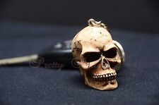 12-Skull Head Keychain Ring 3D Skeleton Head Brown Bone Biker Head Death Skulls