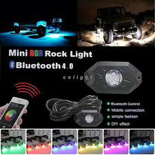 4x Mini Bluetooth Music RGB LED Glow Rock Lights Wireless Under Car Offroad SUV
