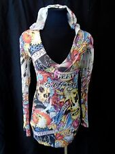 ED HARDY sz S MESH GRAPHIC BODYCON CLUB PARTY HOODED MINI DRESS LONG SHIRT TOP