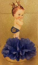 ROYAL LITTLE PRINCE BLUE GOLD CENTERPIECE BIRTHDAY PARTY BABY SHOWER TABLE DECOR