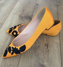 New JCrew Embroidered Pointed-Toe Flats 7 Tangelo F7987 Yellow Floral SOLDOUT!