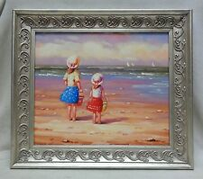 Girls at the Beach Oil Painting on Canvas Panel in Silver Finish Decor Frame