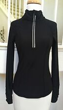 90 Degrees by Reflex Black Stretch Poly 1/2 Zip Long Sleeve Pullover Top Sz. S