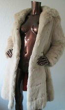 VINTAGE beige crema avorio Inverno Bianco CONEY coniglio lungo cappotto di pelliccia uk10 uk12 S