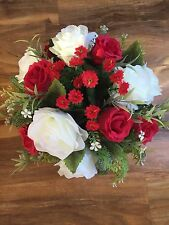 New Stunning Artificial Flower Arrangement Red/cream In Black Pot For Grave