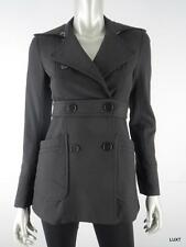THEORY XS Black Double Breasted Belted Coat Peacoat EUC Made in USA