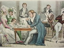 1892 HAND COLOURED PRINT JOHN BULL & HIS FAMILY AT AN ICE CAFE PARIS OCCUPATION